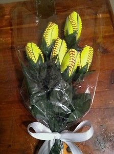 I would LOVE to get these on senior night. Wink wink. ;) | Softball Flowers 6 Custom Made from Quality Leather Softball Tulip Rose Gift Idea | eBay