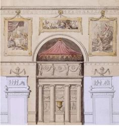 Kedleston Hall, design for the decoration of the end wall in a state room, James Stuart, 1757-8. Courtesy of Kedleston Hall, Derbyshire, The Scarsdale Collection (The National Trust), © NTPL / John Hammond http://www.vam.ac.uk/content/articles/j/james-athenian-stuart/