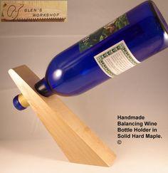 Wine Bottle Holder Handmade Balancing in solid by GlensWorkshop, $19.95