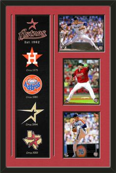 One framed Houston Astros heritage banner with three 8 x 10 inch Houston Astros photos of Nolan Ryan, double matted in team colors to 22 x 34 inches.  The lines show the bottom mat color.  $189.99 @ ArtandMore.com