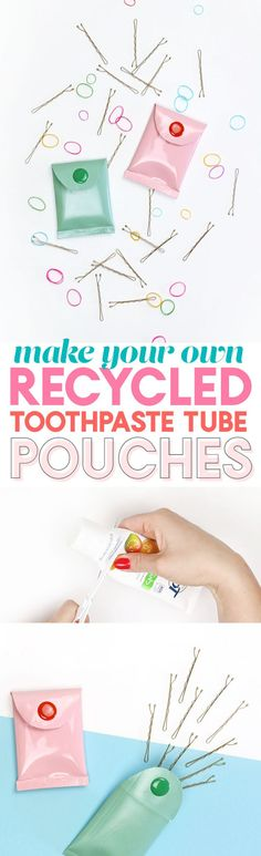 Alte Tuben umfunktionieren l Upcycling Ideen l Recycled Craft Idea - DIY mini pouches from toothpaste tubes Crafts For Teens, Crafts To Make, Fun Crafts, Diy Craft Projects, Craft Tutorials, Plastik Recycling, Diy Recycle, Reuse, Recycled Crafts