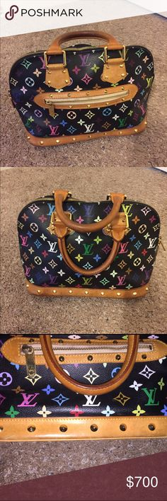 Louis Vuitton multicolored tote Used authentic Louis Vuitton multicolored Doctor style bag. Signs if wear as shown. Louis Vuitton Bags Totes