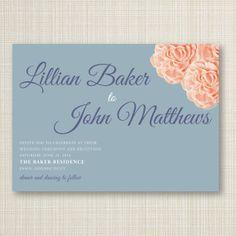 Floral Script Printable Wedding Invitation 7x5 by kandkcreative, $18.00
