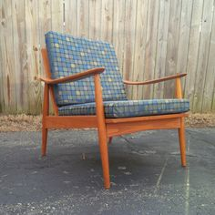 Oak MCM Armchair w/ Blue Upholstered Cushions by belgiumifye, $425.00