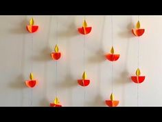 Easy Diwali Craft/ DIY idea for kids. In this video, learn how to make beautiful paper diyas. These definitely will light up your wall. Super easy and fun to... Paper Wall Hanging, Paper Wall Decor, Wall Hanging Crafts, Diya Decoration Ideas, Diwali Decorations At Home, Paper Decorations, Diy Crafts Hacks, Diy Home Crafts, Decor Crafts