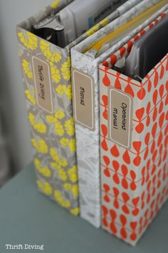 Get organized and crafty by taking old, ugly binders from the thrift store and glue pretty paper to them for unique, one-of-a-kind DIY notebooks!