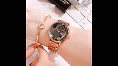 This is a beautiful women's watch. Cool Watches For Women, Watch Video, Make Time, Gold Watch, Beautiful Women, Steel, Crystals, Stuff To Buy, Accessories