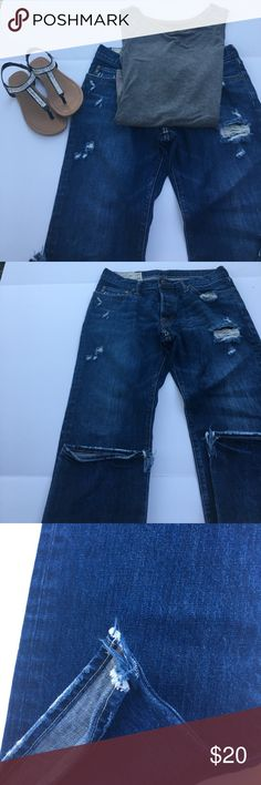 EUC Distressed Abercrombie Jeans Distressed EUC jeans with distressed hems. No staining or fraying on bottom. Distressed pocket detailing on back.  W32 L 32 Slim Straight Style. Abercrombie & Fitch Jeans Straight Leg