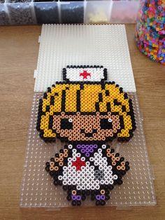 Nurse hama beads by Marye Melty Bead Patterns, Pearler Bead Patterns, Perler Patterns, Loom Patterns, Beading Patterns, Perler Beads, Hama Beads Minecraft, Perler Bead Art, Fuse Beads