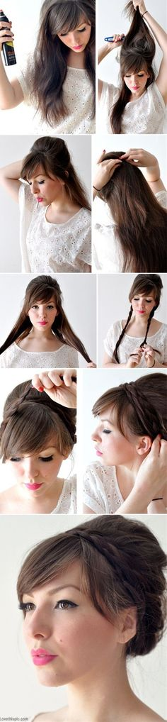 Various styles here that are also cute on the way to making the wrapped braid. - Click image to find more hair posts