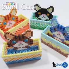 Cat boxes perler beads by 48neko