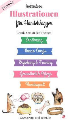 """Illustrationen für Hundeblogger zum kostenlosen Download bei """"Aram und Abra"""".  Zu den Themen Ernährung, Hunde-Emojis, Erziehung & Training, Gesundheit & Pflege und Hundesport."""