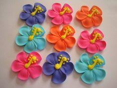 Hibiscus royal icing sugar flowers LOT of 100 cupcake topper