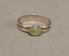Vintage Green Moonstone Ring Sterling Silver Taxco Mexico Gemstone Size 7.5 Marked 925 TM