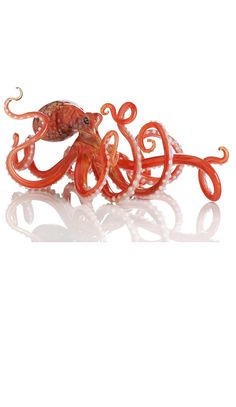 Octopus, Elegant Artists Orange Art Glass Glass Octopus, Made To Order, so beautiful, one of over 3,000 limited production interior design inspirations inc, furniture, lighting, mirrors, tabletop accents and gift ideas to enjoy repin and share at InStyle Decor Beverly Hills Hollywood Luxury Home Decor enjoy & happy pinning