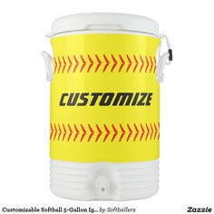 Customizable Softball 5-Gallon Igloo Cooler...Add your own team name! Great for practices and games! #softball #softballteam