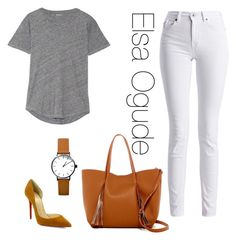 """""""Outfits With The Grey Marl Tshirt"""" by elsaogude on Polyvore featuring Madewell, Barbour International, Christian Louboutin and Urban Expressions"""