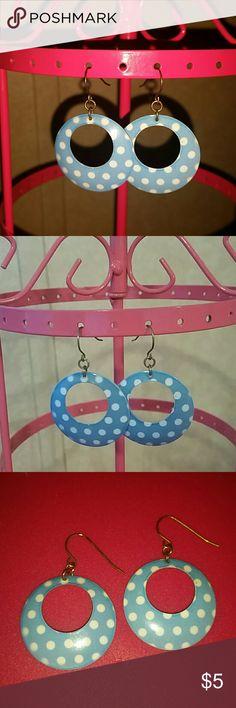 Blue Polka Dot Earrings Dangle hoop earrings. Blue and white polkadots. Price firm. Jewelry Earrings