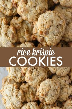 Rice Krispie Cookies Rice Krispie Cookies – Packed full of YUM! This easy cookie recipe is made with Rice Krispies, coconut, oats and salted caramel chips. Chocolate Chip Shortbread Cookies, Toffee Cookies, Spice Cookies, Yummy Cookies, Cream Cookies, Oatmeal Cookies, Chocolate Chips, Cake Cookies, Köstliche Desserts