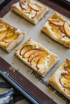 Try these easy to make peach and goat cheese tarts topped with honey. Using frozen puff pastry, these semi-homemade desserts are crowd pleaser! Whip them up for brunches, desserts for BBQs or make individual ones for a sweet afternoon pick me up. Puff Pastry Recipes, Tart Recipes, Baking Recipes, Dessert Recipes, Sweets Recipe, Popcorn Recipes, Cheese Pastry, Cheese Tarts, Goat Cheese