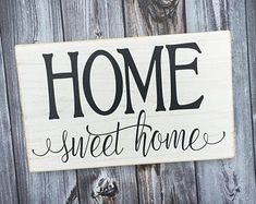 handmade wood signs & home decor by SignsbyJen on Etsy Wood Signs Home Decor, Home Signs, Color Secundario, Etsy Seller, Sweet Home, Words, Holiday Decorations, Handmade, House Signs