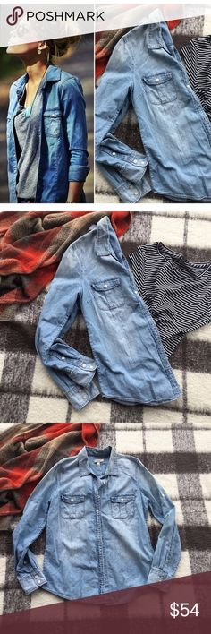 J. Crew Light Chambray Denim Button Western Shirt Worn once. Like new. Size: 8 Pit to pit: 30 inches  Length: 25 inches J. Crew Tops Button Down Shirts