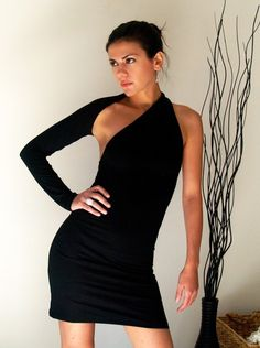 Black Dress Fitted One shoulder Mini Dress  Free by marcellamoda, $59.00