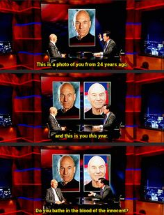 Funny pictures about Stephen Colbert Attempts To Determine Patrick Stewart's Secret. Oh, and cool pics about Stephen Colbert Attempts To Determine Patrick Stewart's Secret. Also, Stephen Colbert Attempts To Determine Patrick Stewart's Secret photos. Funny Shit, The Funny, Hilarious, Funny Jokes, Funny Stuff, Funny Sarcastic, Funniest Memes, Funny Minion, Sir Anthony Hopkins