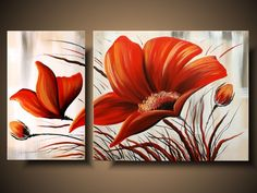 Acrylic Painting Flowers, Hand Painting Art, Painting Frames, Watercolor Flowers, Flower Canvas, Flower Art, 3 Piece Canvas Art, Abstract Painting Techniques, Art Paintings For Sale