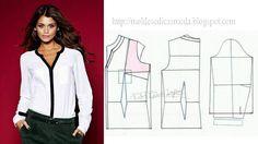 Modelagem de blusa camisa. Fonte: https://www.facebook.com/photo.php?fbid=675576515804623=a.262773027084976.75978.143734568988823=1