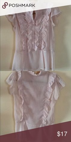 Women's ruffled cream Blouse size M Women's dressy cream ruffled Blouse size M. Half button up and lace on the front. This Blouse is used but in really good condition. Tops Blouses