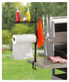 BBQ Accessory Organizer Stand Tool Rack Steel Cook Camping Grill Utensil Holder for sale online Camping Grill, Camping Kitchen, Camping Tips, Condiment Holder, Utensil Holder, Towel Holder, Utensil Organizer, Grill Area, Bbq Area