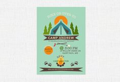 Hey, I found this really awesome Etsy listing at https://www.etsy.com/listing/269693690/camping-birthday-invitation-camp-out