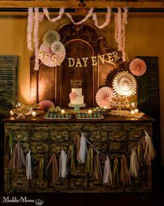 Pink and gold dessert table.  Decor by Southern Event Planners