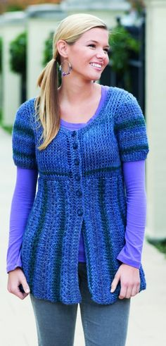 Pretty spring puff sleeve Tunisian crochet cardigan #tunisian #cardigan #DIY