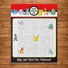 Pokemon Maze Activity Red & White Pokemon by NineLivesNotEnough. On the back of a favor bag.