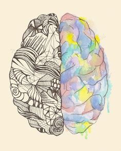 Brain Hemispheres Print Neurology MBTI Myers Briggs Duality Neuroscience Science Art Psych Psychology Psychiatry Ink