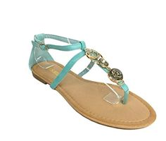 RCK Bella Womens Afreda3 Strappy Gold Dcor Thong Flat Sandal teal leatherette 10 M US ** See this great product.
