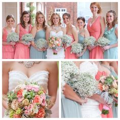 Oh my gosh! These colors are gorgeous! Very similar to what I have in mind! succulent bridal bouquet and baby's breath bridesmaids