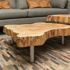 Bring authentic earth materials and textures into your living space. Fallen old growth trees from city streets in Cleveland are milled, dried and finished into organic modern tables. By allowing this