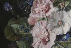Detail - Hollyhocks and Other Flowers in aVase, Jan van Huysum, 1702-20.