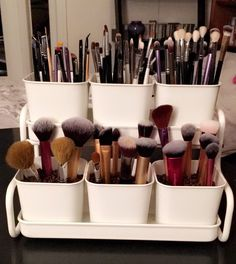 Make up brush holder IKEA -- filler is coffee beans ... So cheap and DIY
