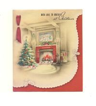 Nostalgic Holiday Scene On This Card Dated 1944