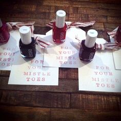 """Cute Christmas gift for stocking stuffers, Secret Santa, etc- nail polish """"For your mistleTOES"""".secret santa next year! Primitive Christmas, Noel Christmas, All Things Christmas, Winter Christmas, Christmas Presents, Christmas Decorations, Cheap Christmas, Xmas Gifts, Polish Christmas"""