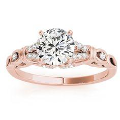 Diamond Antique Style Engagement Ring Setting 14k Rose Gold (0.14ct), Women's, Size: 6.5