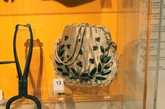 Early nineteenth century evening bag with beetle wings.