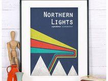 Skandinavien retro Poster, Nordlicht, Druck , A4