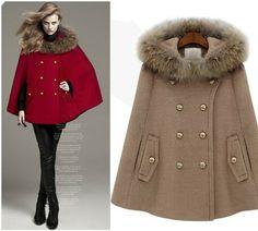 New winter fashion temperament Women's Woollen Fur Collar cloak cape coat jackets Red,Camel S,M,L #0329 $116.66