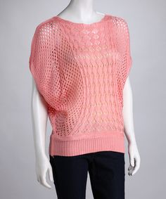$16.99 Take a look at this Pink Crocheted Cape-Sleeve Sweater by Light Layers: Women's Sweaters on #zulily #fall today!