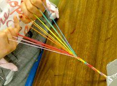 Organized Chaos: 4th Grade - Weaving friendship bracelets (toe weaving/5 finger weaving)